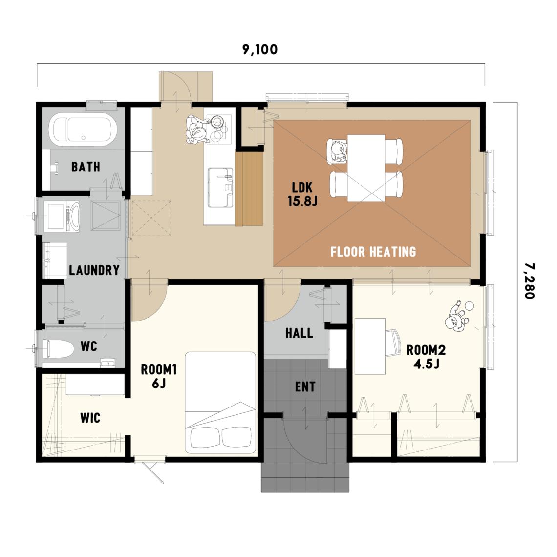 大きなドッグランと🐾はだしでぽかぽか床暖房 LDKの平屋のお家