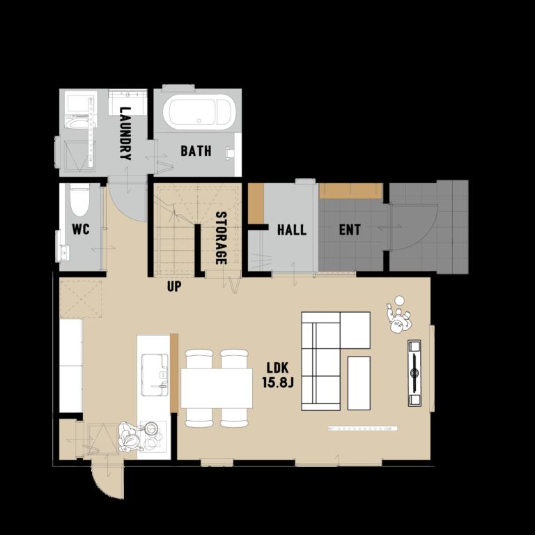 たっぷり収納ですっきり暮らす 勾配屋根のジャンブルーのお家