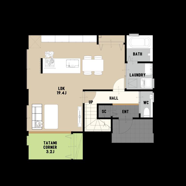 大空間LDKとアイランドキッチン 大人シンプルなお家